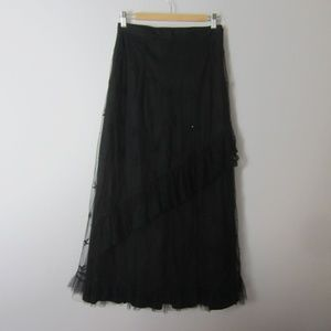 New Medium Black Corinne Ruffle Lace Skirt $149